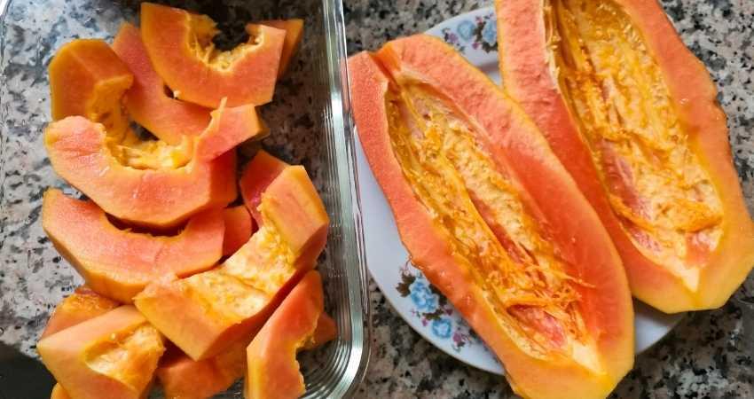 how do you preserve cut papaya